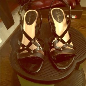 Cole Haan sandals, black patent with gold studs